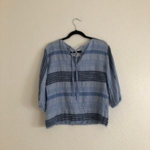Anthropologie Tops - 2/$25 Cloth & Stone Blue Striped Top w/ Tie Back S